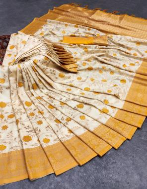yellow white banarasi silk fabric weaving jacqaurd work party wear