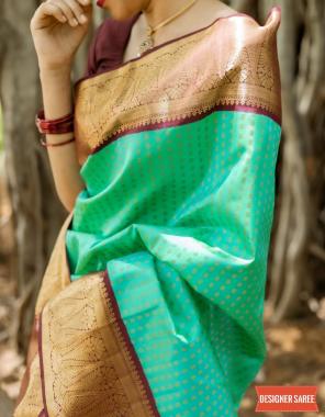 rama sky soft lichi silk fabric weaving jacqaurd work party wear