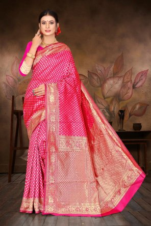 pink silk fabric jequard work casual