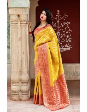 yellow soft lichi silk  fabric weaving jacqaurd work ethnic
