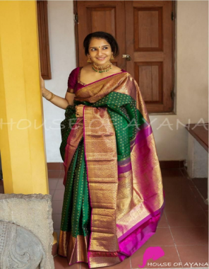 green soft lichi silk  fabric weaving jacqaurd work ethnic