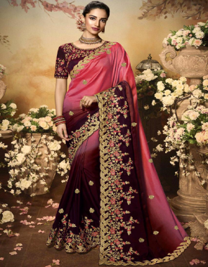 red saree - georgette embroidery |blouse -banglori silk fabric embroidery work wedding