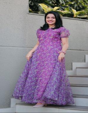 purple organza  flair -3.5m  length 52 fabric printed  work wedding