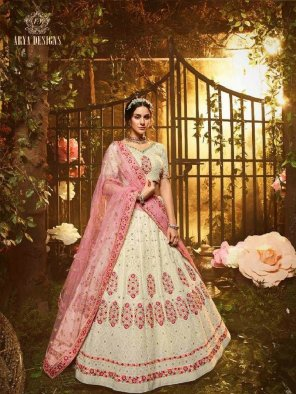 white georgette fabric thread and zari work wedding