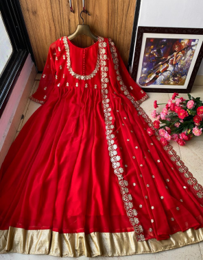 red gown -heavy georgette with embroidery full stitched |inner -silk |dupatta -heavy georgette |type -full stitched |gown size upto 44(xl) size |length 54 fabric embroidery work running