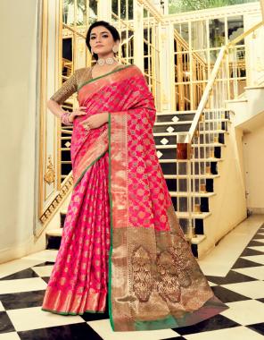 pink soft zari weaving silk patola fabric weaving jacqaurd work wedding