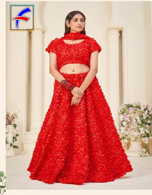 red lehenga -heavy net ribbon embroidery  blouse -beautiful ribbon embroidery  inner -heavy santoon  dupatta -heavy net ribbon embroidery work  length -max upto 46   flair -3.20m  type -semi stitched fabric ribbon embroidery  work wedding