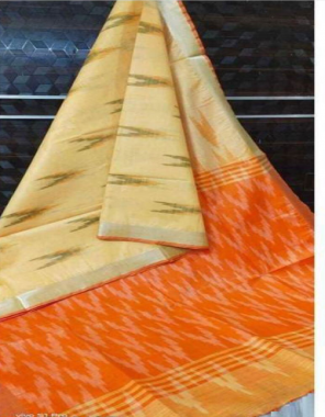 light yellow pure linen ikkat fabric digital print work casual