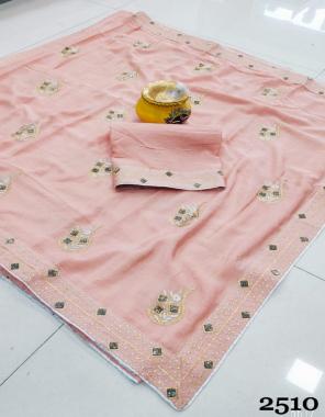 light orange chinon fabric embroidery stone work wedding
