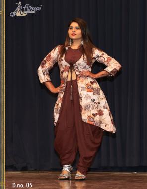 coffee top dhoti koti -heavy rayon cotton |dhoti length 41 |koti length 42  fabric printed work running