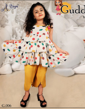 white yellow top with palazzo -rayon 5to6 year 23 |6to7 year 24 |7to8 year 26 |8to9 year 28 |9to10year 30 |10to11year 32 |11to12 year 34  fabric digital print  work festive