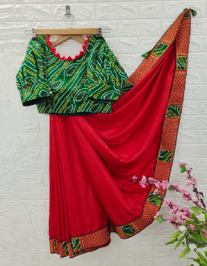 red saree -dola silk badhani border work  blouse -full stitched blouse 38 size upto 42 fabric embroidery work casual