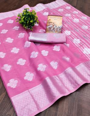 pink span cotton fabric weaving  work wedding