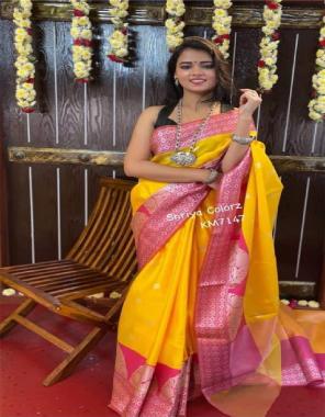 yellow pink soft lichi silk  fabric weaving jacqaurd  work festive