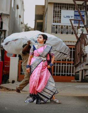 pink soft lichi silk  fabric weaving jacqaurd  work festive