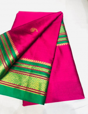 pink paithani silk  fabric sliver weaving border work party wear