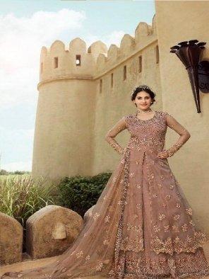 peach bangalori and santoon fabric embroidery and swarovski work wedding
