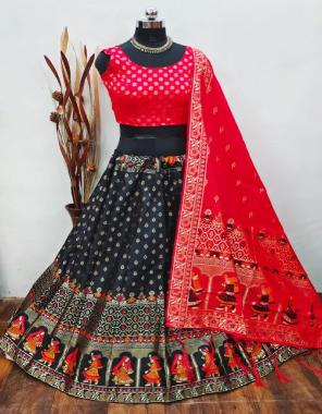 black lehenga -banarasi brocade silk semi stitched  blouse -full stitched pure banarasi silk  dupatta -pure banarasi silk fabric weaving jacqaurd work casual