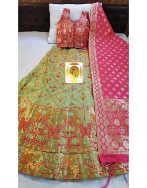 parrot lehenga -pure banarasi silk with cancan inner semi stitched |blouse -pure banarasi silk full stitched |dupatta -pure banarasi silk pallu fabric weaving jacqaurd work ethnic