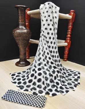 white black soft silky fabric printed work running