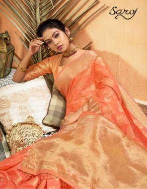 orange cotton fabric jacqaurd work festive