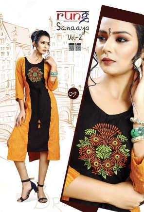 orange with black ryon fabric embroidery work casual