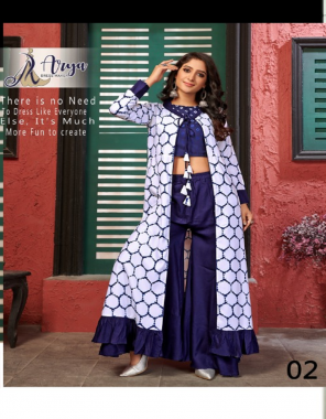 blue  top shrug palazzo -cotton  top length 15  palazzo length 41 flair -2m  shrug length 45 to 48  fabric printed work festive