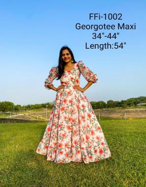 white  georgette flair - 4m length 52inch fabric printed work festive