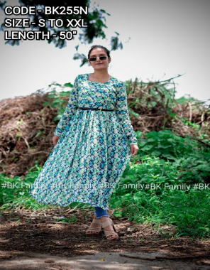 sky  georgette with lether belt length 50 flair 3.5m fabric printed work running