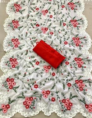 white saree -georgette |blouse -banglori silk fabric embroidery daimond work casual