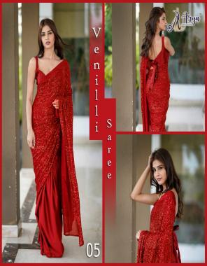 red saree - dhola silk  blouse -banglori satin fabric seqeunce  work festive
