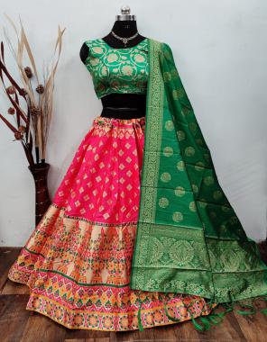 pink lehenga -banarasi brocade silk with cancan inner |blouse -pure banarasi silk full stitch free size 38 ready upto 42 |dupatta -pure banarasi silk fabric weaving jacqaurd work casual