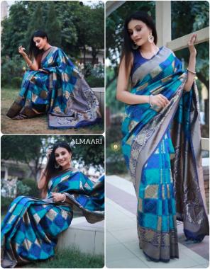 blue sky  soft banarasi silk fabric weaving jacqaurd work festive