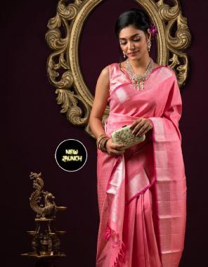 pink soft lichi silk fabric weaving jacqaurd work casual