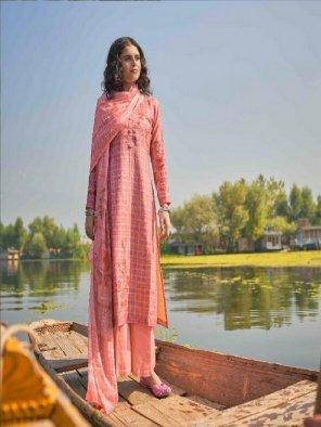 peach pashmina fabric digital printed work festival