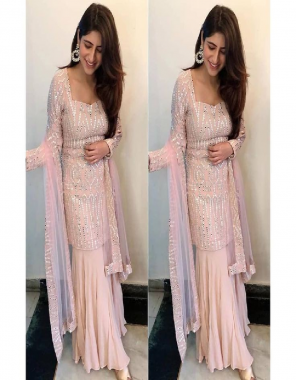 pink top -georgette length 38 |bottom -georgette 1.9m length |dupatta -net 2.2m |inner -crepe |type -un stitched fabric embroidery paper mirror work work wedding