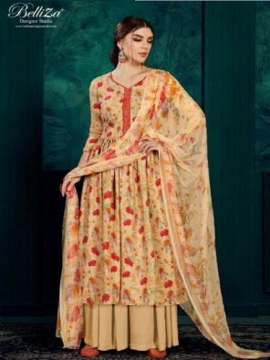 orange pashmina fabric digital printed work festival