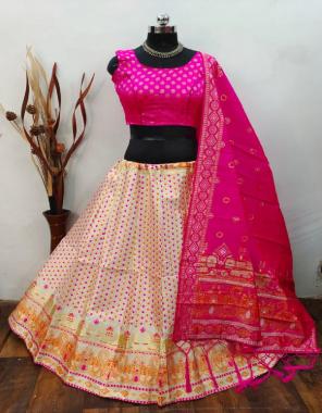 white pink lehenga -banarasi brocade silk with cancan inner |blouse -pure banarasi silk blouse full stitched 38 ready utpo 40 |dupatta -pure banarasi silk fabric weaving jacqaurd  work running