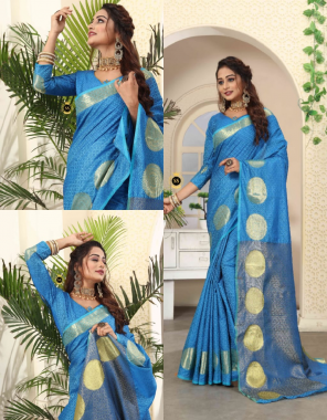 sky blue pure kanjivaram handloom silk fabric weaving jacqaurd  work ethnic