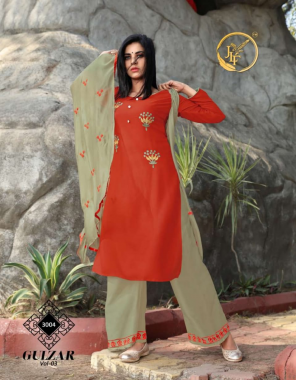 orange top -heavy14kg rayon |bottom -fancy embroidery work |dupatta -classy chinon dupatta with work fabric embroidery khatli work work ethnic