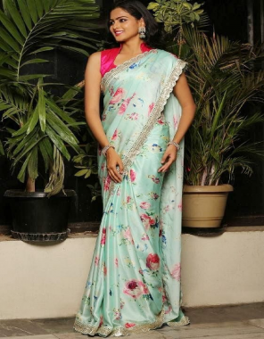 sky saree -soft rajwadi silk with digital print  blouse -banglori silk fabric embroidery seqeunce digital print work wedding