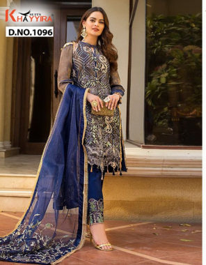blue top -fox georgette embroidery  inner + bottom -dull santoon  dupatta -organza embroidery fabric embroidery work party wear