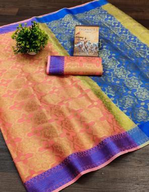 orange blue soft pure cotton fabric weaving jacqaurd work party wear