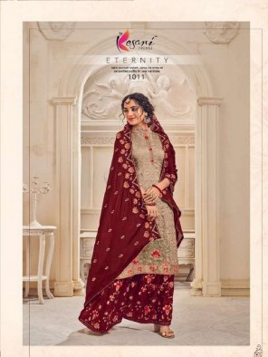 oat with maroon georgette fabric embroidery work wedding
