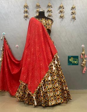 black red lehenga -pure cotton print size upto 42 flair 6 to 7m |blouse -pure cotton print |dupatta -pure cotton print | type -semi stitched fabric printed work festive