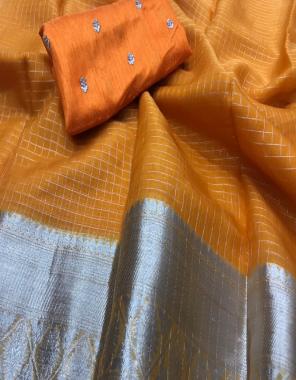 orange pure organza  fabric weaving seqeunce work running
