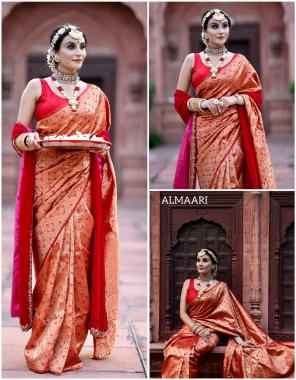 red soft lichi silk  fabric weaving jacquard work party wear