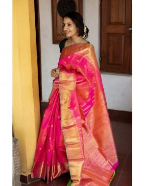 pink soft lichi silk  fabric weaving jacqaurd work wedding