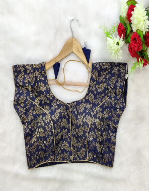 blue banarasi jacqaurd  sleeve attached inside fabric jacqaurd work running