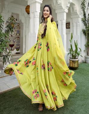 yellow gown -georgette digital print lace  inner -silk  dupatta -heavy georgette digital print   length 52 fabric digital print work running